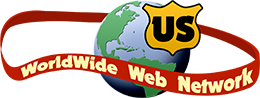 US WorlWide Web on Banner around Globe logo
